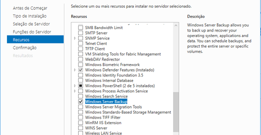 Windows Server 2016 - Windows Backup - Backup na Rede