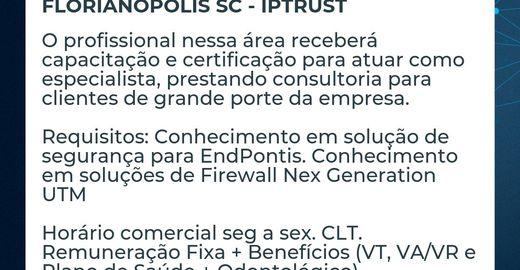 Vaga Especialista em Soluções de Segurança em TI - Florianópolis SC