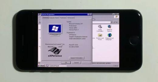 Windows XP rodando em um iPhone 7